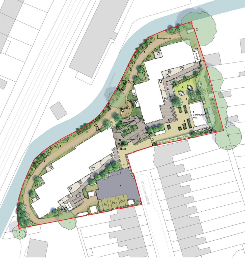 Plan of Church Grove site alongside Ravensbourne